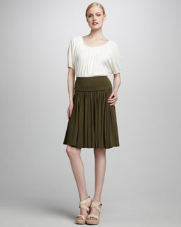 Three Dots Peasant Top & Colette Knit Skirt