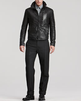 Giorgio Armani Leather Jacket & Herringbone Shirt