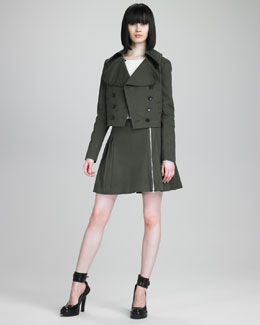 McQ Alexander McQueen Mini Peacoat, Pin-Shoulder Sweater & Zip-Trimmed Kilt