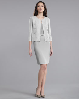 St. John Collection Basketweave Tweed Boxy Jacket, Ultra-Fine Rib-Knit Shell, Skinny Leather Belt & Crepe Marocain Pencil Skirt