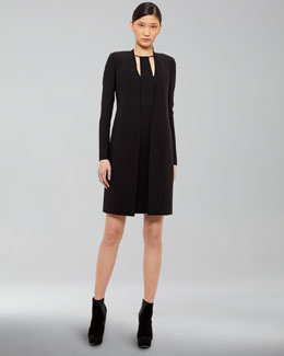 Akris Long Double-Face Cardigan & Zip-Detail Dress