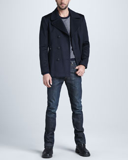Rag & Bone Indigo Wool Pea Coat, Wool Stowe Crew Sweater & Dover Slim Straight Pants