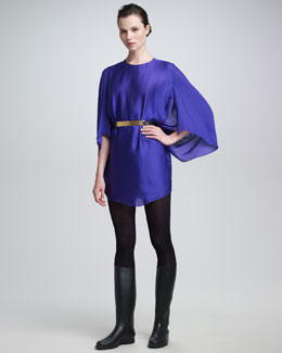 Maison Rabih Kayrouz Silk Cape-Sleeve Dress & Metal Belt