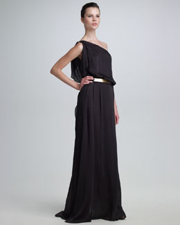 Maison Rabih Kayrouz One-Shoulder Silk Gown & Metal Belt