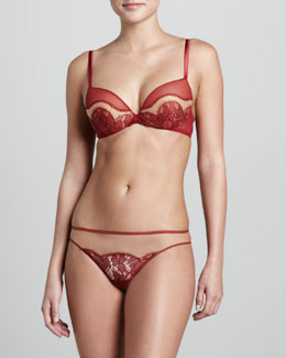 La Perla Shanghai Push-Up Bra & Thong, Red