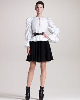 Alexander McQueen Puffed-Sleeve Blouse, Pleated A-Line Skirt & Roller Belt