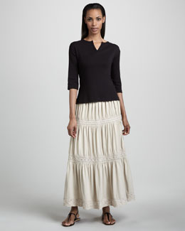 Joan Vass Split-Neck Tee & Lace-Trim Tiered Skirt, Petite
