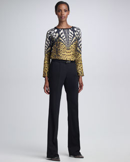 Roberto Cavalli Mixed-Print Top & Pleated-Front Pants