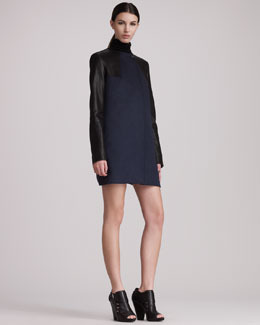 Pierre Balmain Leather-Sleeve Coat & Long-Sleeve Cutout Dress