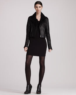 Pierre Balmain Short Shearling Jacket & Cutout-Back Jersey Dress