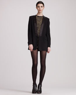 Pierre Balmain Tuxedo Jacket & Studded Cold-Shoulder Dress