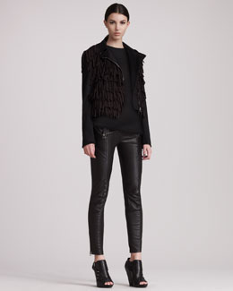 Pierre Balmain Fringed Jacket, Sleeveless Fringed Top & Leather Motorcycle Pants