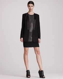 Pierre Balmain Open-Front Tuxedo Jacket, Crystal Tank & Biker Mini Skirt