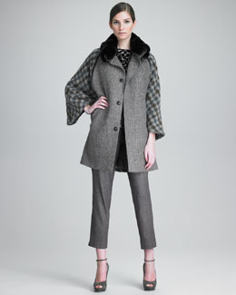 Etro Mixed Tweed Jacket, Jewel-Neck Top & Ankle Pants