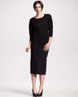 Jil Sander Techno-Jersey Sweatshirt & High-Waist Jersey Skirt