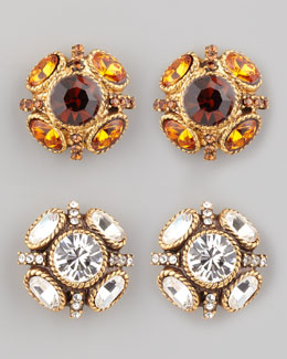 Oscar de la Renta Crystal Stud Earrings