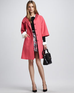 Milly Irena Coat, Leather-Trim Sweater & Paris Pleated Skirt