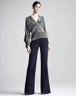 Ralph Lauren Collection Jessica Beaded Kimono-Sleeve Top & Flared Gabardine Pants