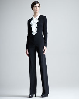 Escada Niniane Contrast-Collar Blouse & Tanja Classic Stretch Wool Pants
