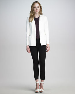3.1 Phillip Lim Scuba Side-Pocket Jacket, Draped Silk Shell & Ponte-Jersey Jodhpur Trousers