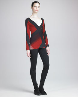 Donna Karan Needlepunch Collage Top & Seamed Leggings