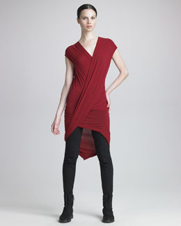 Donna Karan Twist-Front Tunic & Seamed Leggings
