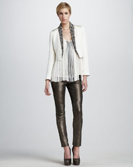 Haute Hippie Embellished Blazer, Fringed Tank & Metallic Stretch-Leather Pants