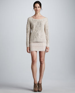 Haute Hippie Aran Sequined Sweater & Lace Miniskirt