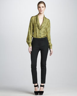 Rachel Zoe Eleanor Shawl-Collar Top & Ian Cigarette Pants