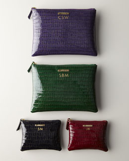 Graphic Image Crocodile-Embossed Patent-Leather Travel Pouch & Carry-All