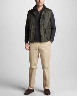 Polo Ralph Lauren Epson Quilted Vest, Quarter-Zip Jersey Sweater & Preson Brushed-Cotton Pants