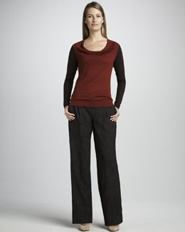 Magaschoni Colorblock Knit Sweater & Pinstripe Trousers