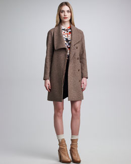 Cacharel Shawl-Collar Coat, Long-Sleeve Blouse with Tie & Faux-Wrap Skirt