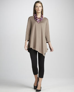 Joan Vass Asymmetric Tunic & Cropped Leggings, Petite