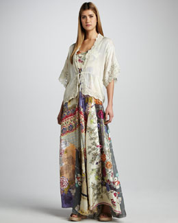 Johnny Was Collection Lace-Trim Tie Jacket & Mixed-Print Silk Maxi Dress, Women's