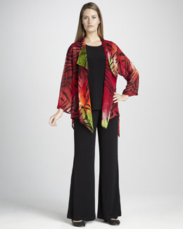 Caroline Rose Tiger Tie-Dye Jacket, Long Stretch-Knit Tank & Stretch-Knit Wide-Leg Pants, Petite