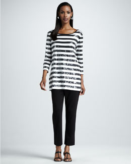 Joan Vass Striped Sequined Tunic & Slim Ankle Pants, Women's