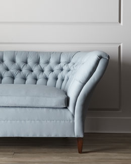 "Old Hickory Tannery  ""Ellsworth"" Tufted-Curve Sofa"