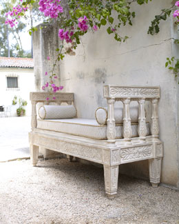 Isabella Collection Outdoor Bench & Cushion Set