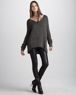Vince  V-Neck Sweater & Motocross Leather Jeans