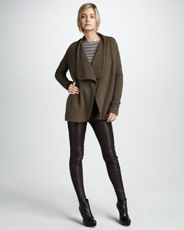 Vince Wool Cascade Jacket, Striped Rib-Knit Sweater & Leather Leggings