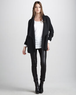 Vince Boiled Wool Jacket, Dolman-Sleeve Tee & Motocross Leather Jeans