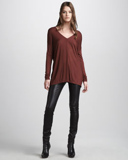 Vince Motocross Leather Jeans & V-Neck Long-Sleeve Tee