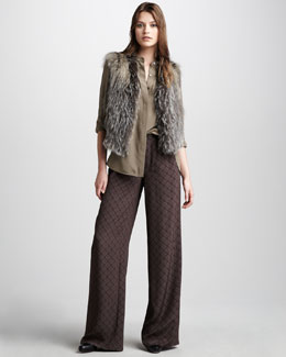 Vince Cross Fox Fur Vest, Two-Pocket Silk Shirt & Printed Pajama Pants