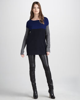 Vince Colorblock Sweater & Motocross Leather Jeans