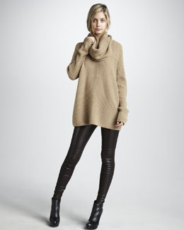 Vince Cowl-Neck Ribbed Sweater & Leather Leggings
