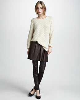 Vince Textured V-Neck Sweater Pleated Leather Skirt & Leather Leggings