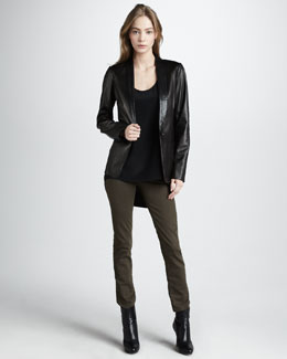 Vince Leather Blazer, Silk Tank & Five-Pocket Skinny Jeans