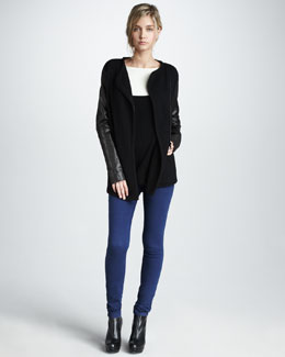 Vince Leather-Sleeve Biker Jacket, Colorblock Sweater & Five-Pocket Skinny Jeans