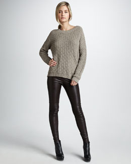 Vince Textured V-Neck Sweater & Leather Leggings